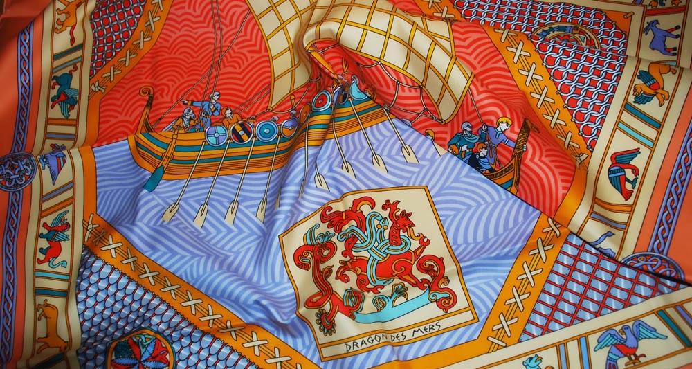 """Carré de coton """"Dragon des Mers"""" by Sophiek, Hermès, 2001."""